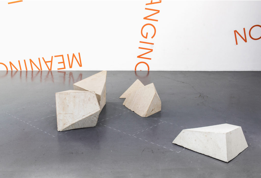 Galerie Martine Aboucaya, granulation, open cube, cube, stone, drawing, Robert Barry